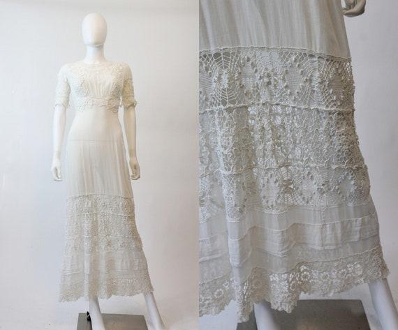 antique edwardian dress   1900s lace gown   xxs