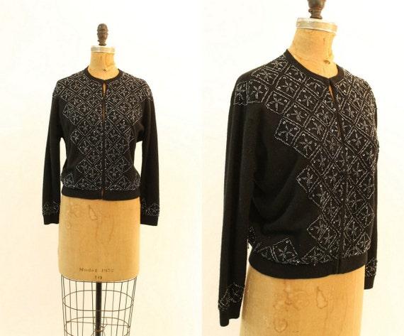 1950s beaded cardigan   vintage wool sweater   med