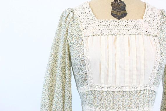1970s GUNNE SAX cotton FLORAL maxi dress xs    ne… - image 6