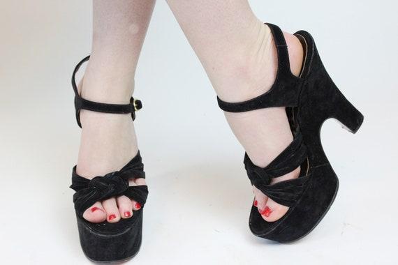 1970s does 1940s platform sandals size 7 us    vi… - image 3