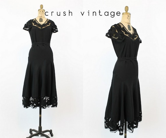 20s Dress Capelet Small / 1920s Vintage Mesh Appli