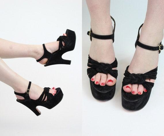 1970s does 1940s platform sandals size 7 us    vi… - image 1