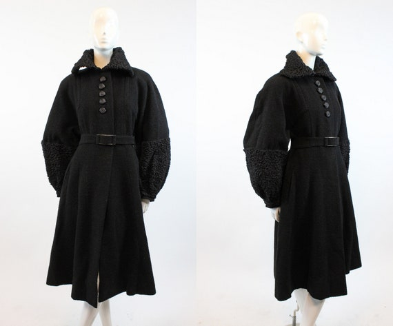 1930s wool boucle coat huge balloon sleeves | fur