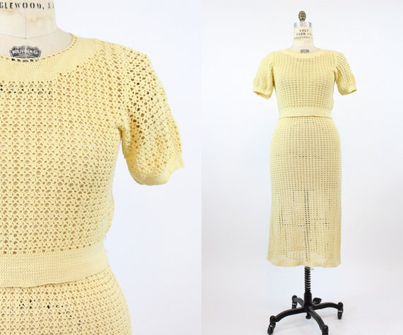 1930s knit set | top and skirt crochet wool | medi