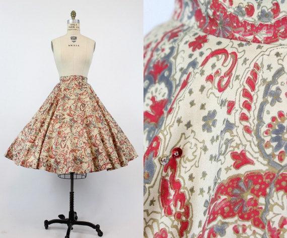 1950s circle skirt sequins   cotton batik   xs