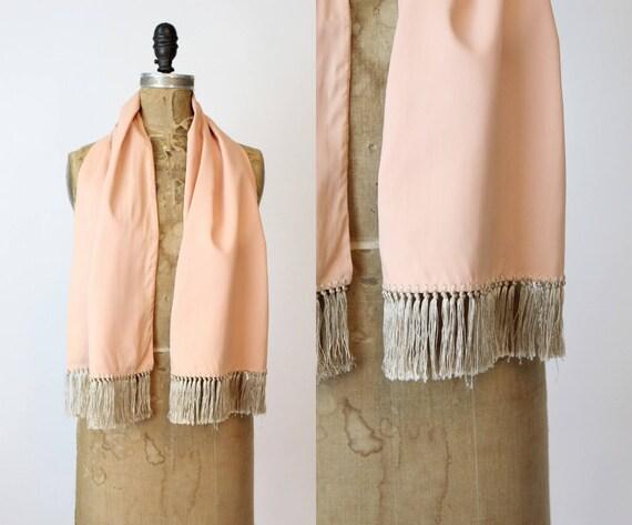 1940s peach rayon fringed scarf  | vintage wrap