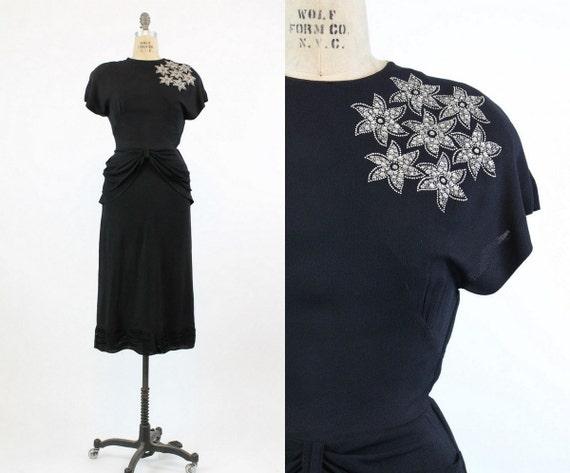 1940s star studded dress xs   vintage peplum rayon