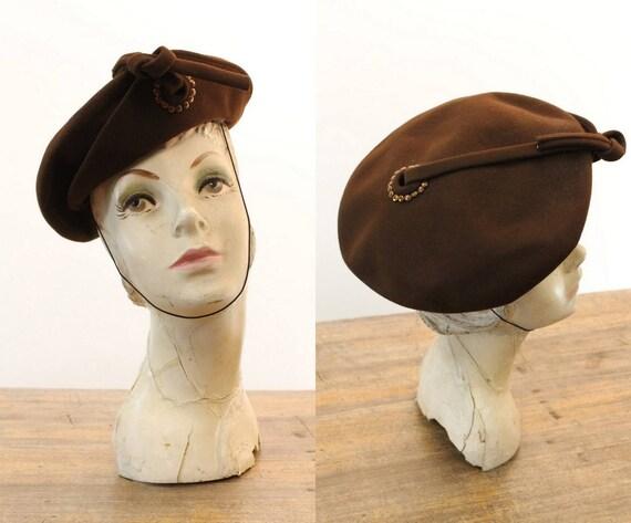 1940s studded hat   vintage wool tilt   beret
