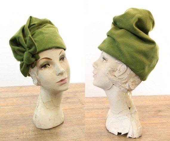 1940s turban hat   green wool   fold over