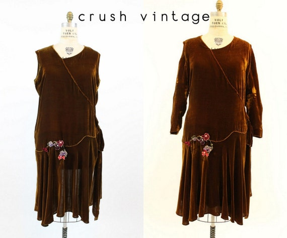20s Dress Silk Velvet XL Plus / 1920s Vintage Dres