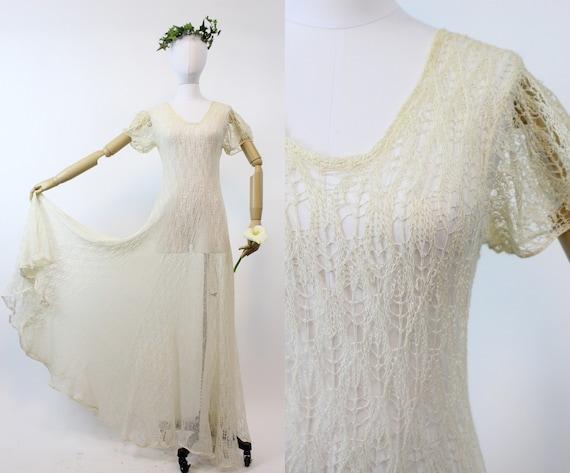 1930s spiderweb lace knit dress | vintage wedding