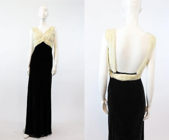 1930s silk velvet dress | bias cut Hattie Carnegie