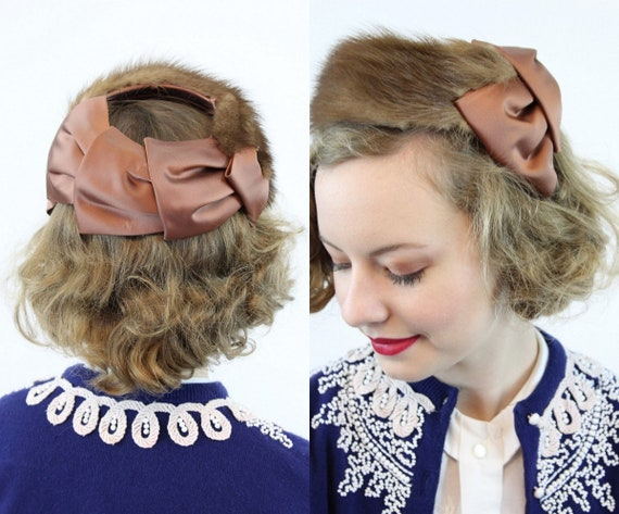 1950s mink hat   satin ring cage   halo hat