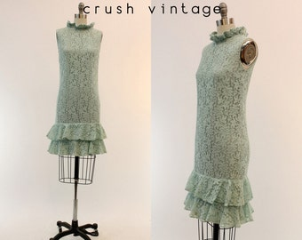 60s Lace Dress XS / 1960s Ruffle Shift Dress / Mint Apple Candy Dress