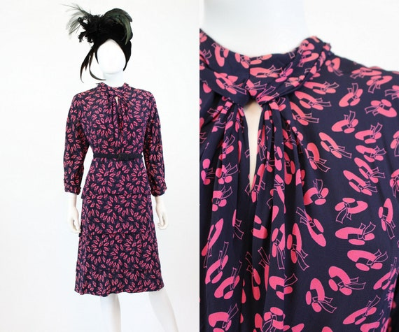 1940s sun hat print novelty dress small | vintage