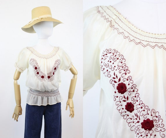 1940s rayon embroidered hungarian blouse small me… - image 1
