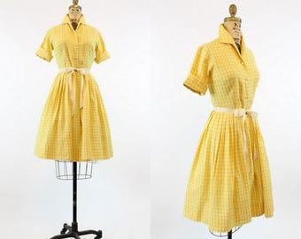 50s Dress Gingham Small / 1950 Vintage Dress Cotton Jacquard / Autumn Marigold Dress