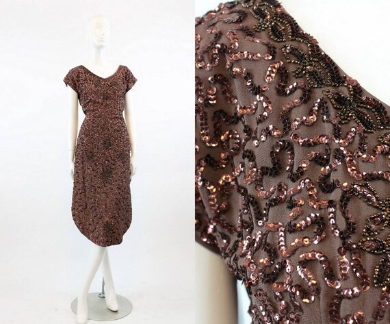 1940s sequin dress xs   vintage 40s rayon beaded a