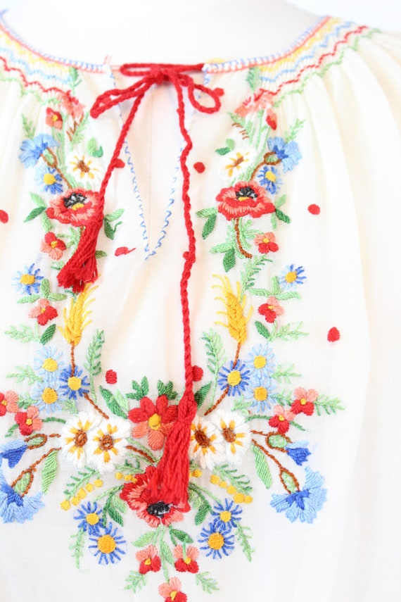 1930s HUNGARIAN embroidered peasant blouse small … - image 5