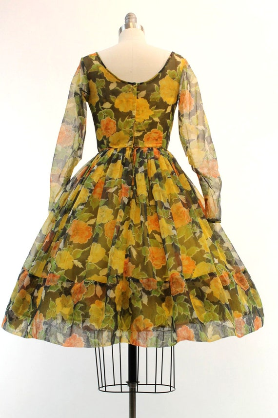 1950s organza dress | floral rose print | xs - image 3