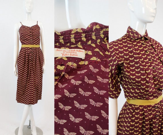 RARE 1940s Claire McCardell moth print dress and b