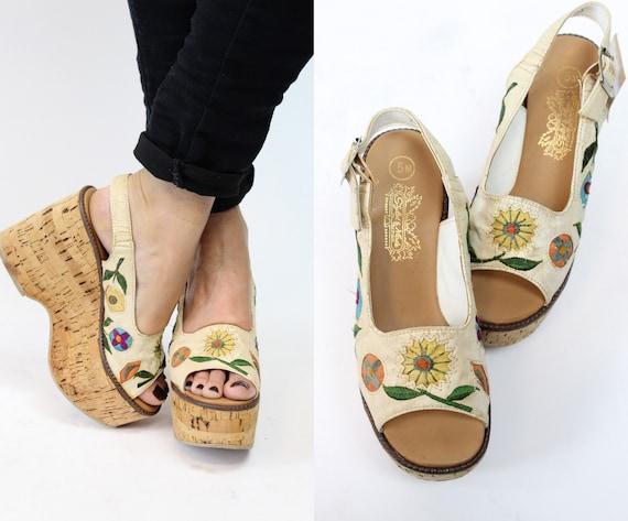 1970s cork platform shoes | deadstock leather flor