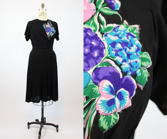 1940s quilted applique rayon dress large | vintage