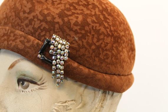 1960s does 1920 cloche   burnout wool hat - image 3