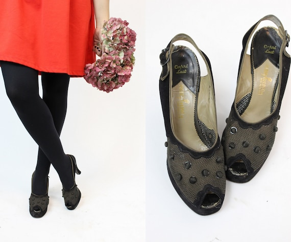 1940s peep toe platforms shoes size 7 us | palter