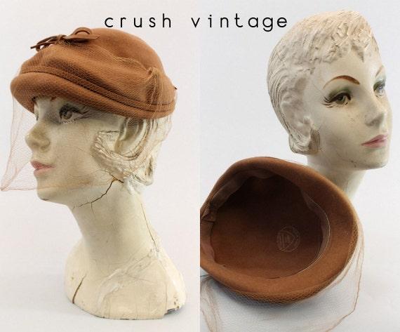 1940s wool hat   fascinator tilt   veil netting