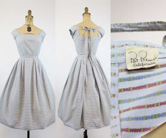 1950s Pat Premo cotton dress xxs  | 1950s back tie