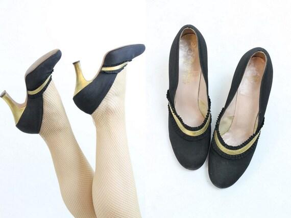 1930s gold and black deco shoes size 4.5 us | vint