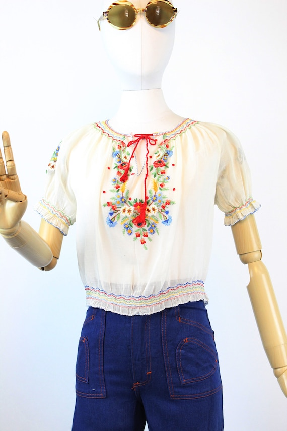 1930s HUNGARIAN embroidered peasant blouse small … - image 2