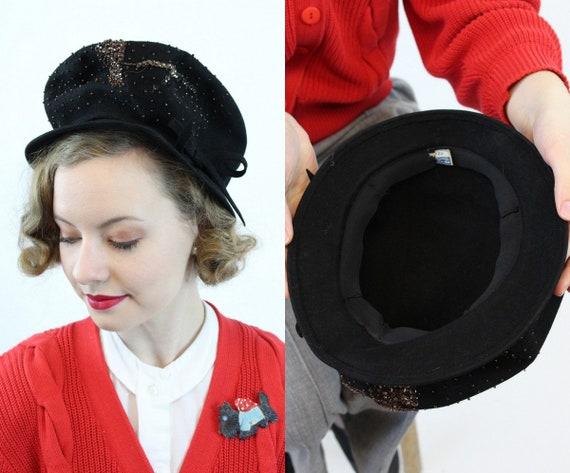 1940s conductor hat   beaded cap   wool fedora