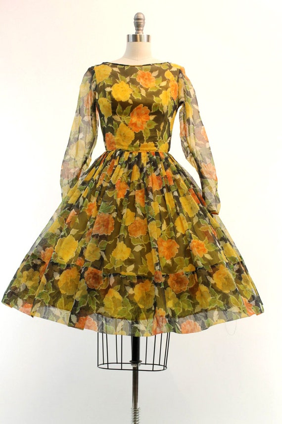 1950s organza dress | floral rose print | xs - image 2