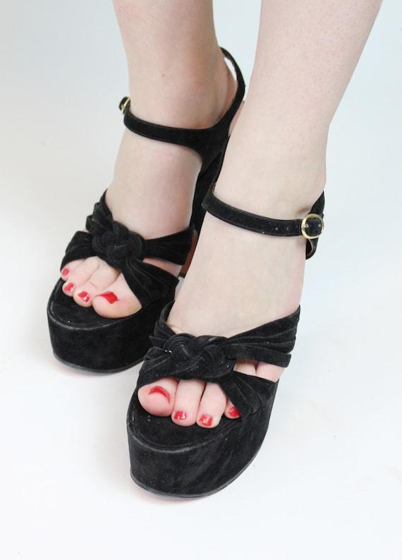 1970s does 1940s platform sandals size 7 us    vi… - image 4