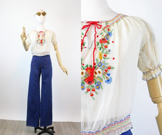 1930s HUNGARIAN embroidered peasant blouse small … - image 1