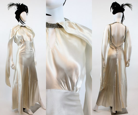 1930s HOOD scarf RHINESTONE dress gown xs  | new f