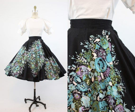1950s floral circle skirt small   vintage cotton s