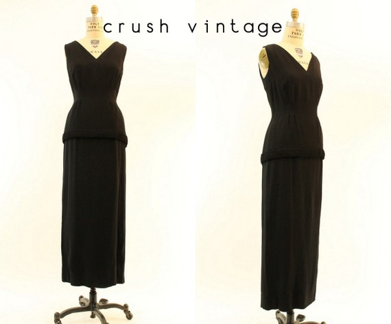 1960s column dress gown   small   vintage rayon go