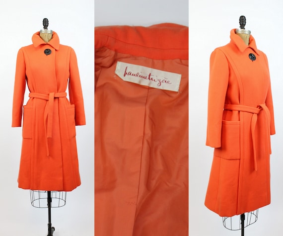 1960s Pauline Trigere orange wool coat small | vin