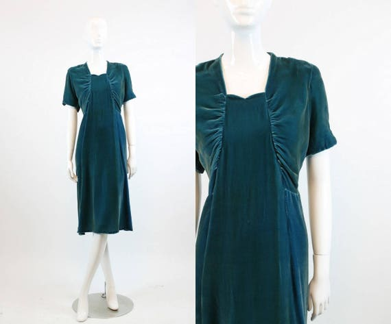 1930s silk velvet dress xs | sweetheart neckline |