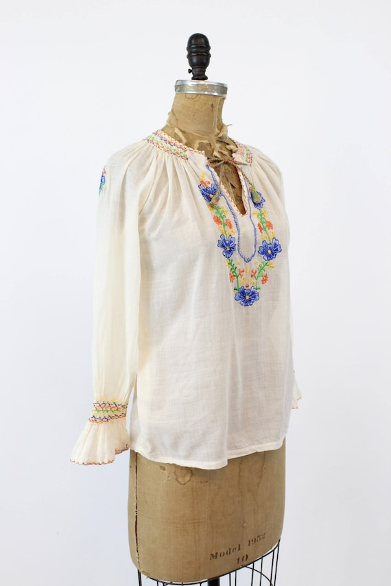 70s does 30s Hungarian Blouse XS Small / 1970s In… - image 6