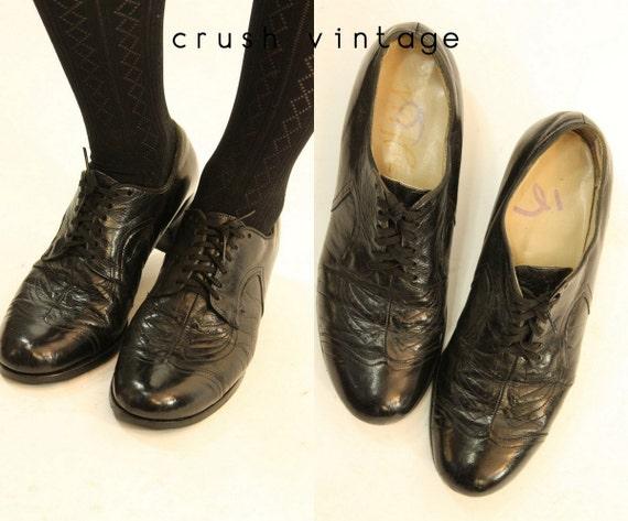 1930s oxfords shoes | size 6 us | vintage leather