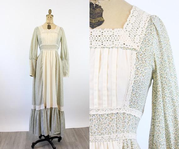 1970s GUNNE SAX cotton FLORAL maxi dress xs    ne… - image 1