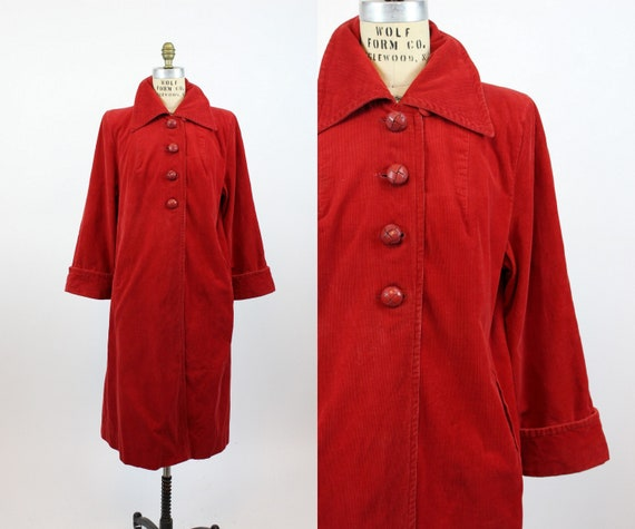 1940s red corduroy coat medium large | vintage jac