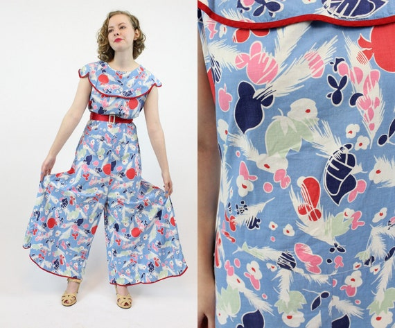 1930s beach pajamas feather print | vintage novelt