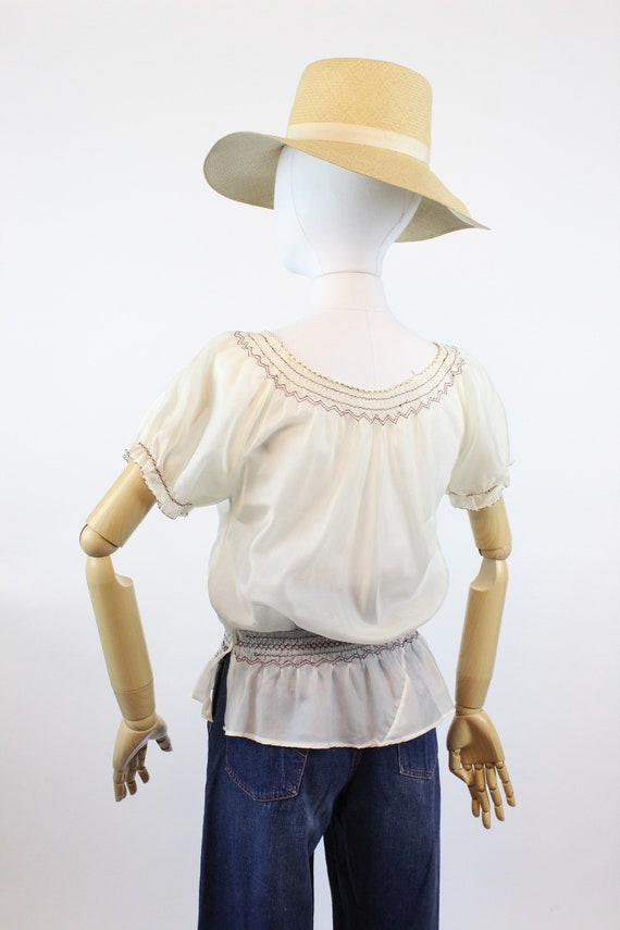1940s rayon embroidered hungarian blouse small me… - image 7