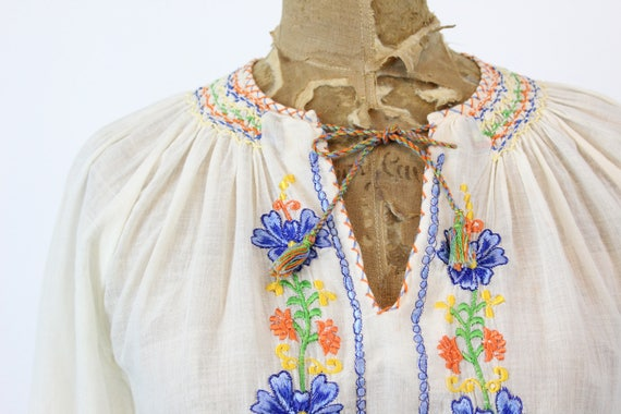 70s does 30s Hungarian Blouse XS Small / 1970s In… - image 4