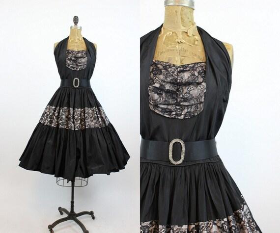 1940s halter dress | lace cocktail full skirt | sm